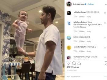 Hairul Azreen berkongsi video mendirikan anak perempuannya, Alisa yang baharu sahaja berusia empat bulan di telapak tangannya di Instagramnya telah menarik perhatian di kalangan netizen.
