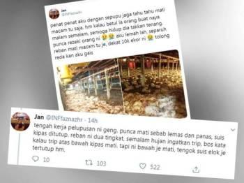 Perkongsian pemuda tersebut di Twitter mengundang simpati dalam kalangan netizen.