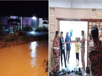 Hujan lebat bermula sekitar jam 6 petang menyebabkan kawasan kediaman mereka dinaiki air. (Kanan: Semua mangsa ditempatkan sementara di Dewan Orang Ramai Kampung Piandang.)