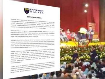 Kenyataan Universiti Malaya berhubung tindakan seorang graduan kejuruteraan awam yang mengangkat plakad tertulis 'Tolak Rasis' dan 'Undur VC' di hadapan tetamu dan pentadbir tertinggi UM semasa sidang kelima Istiadat Konvokesyen UM Kali ke-59 pagi semalam. Tindakan graduan tersebut tular di laman sosial.