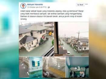 Gambar sekitar banjir di Jepun.