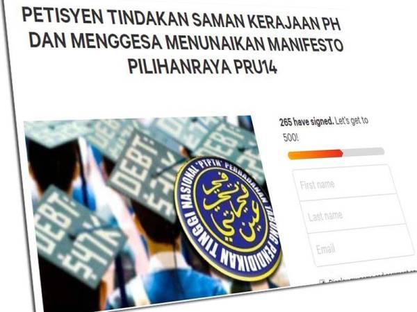 Petisyen dalam talian menyeru rakyat Malaysia menggesa kerajaan PH menunaikan manifesto PRU14.