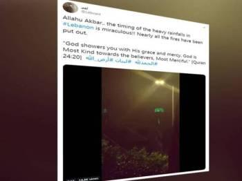 Rakaman azan berkumandang mengiringi hujan lebat tular di media sosial.