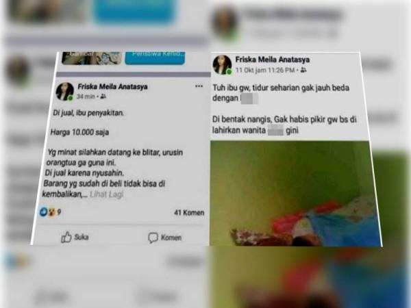 Tular pemilik akaun Facebook menggunakan nama Friska Meila Anastasya dikaitkan dengan penjualan ibunya berharga 10,000 rupiah (RM3).