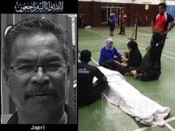 Mangsa dipercayai rebah dan meninggal dunia selepas bermain badminton di Dewan Sri Bernam di sini