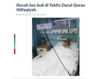 Keratan laporan Sinar Harian berhubung tragedi seorang pelajar tahfiz disimbah air panas.