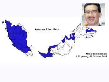 Peta menunjukkan kawasan bertanda biru sebagai amaran berlaku ribut petir. Gambar kecil: Mohd Hisham