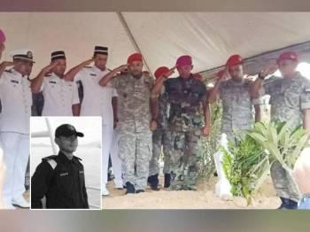 Pegawai dan anggota APPM memberi penghormatan terakhir kepada Allahyarham Mohamad Ikmal selepas selamat dikebumikan di Tanah Perkuburan Islam Bukit Rangin hari ini. Gambar kecil: Mohamad Ikmal Ibrahim