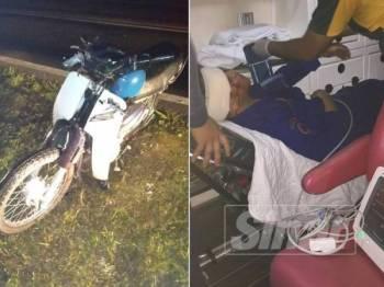 Mangsa dikejarkan ke hospital selepas melanggar lembu yang berkeliaran di atas Jalan Slim River - Felda Gunung Besout, Khamis lalu.