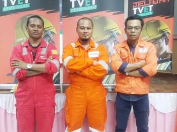 Muhammad Badiuzaman (tengah), Muhammad Qamarul Auji (kanan) dan Mohd Faizal antara contoh belia lepasan TVET yang meraih kejayaan selepas mengambil kursus kemahiran di ABM Wilayah Timur.