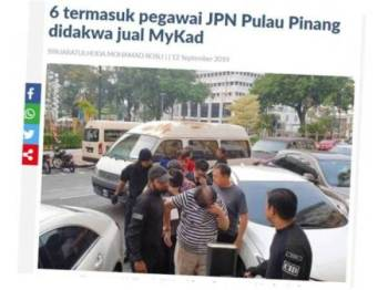 Keratan artikel yang disiarkan Sinar Harian sebelum ini berhubung kes penjualan MyKad di Pulau Pinang.