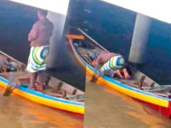 Paparan seorang lelaki solat dalam sampan mendapat perhatian netizen.