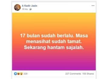 Hantaran A Kadir Jasin di Facebook beliau semalam.