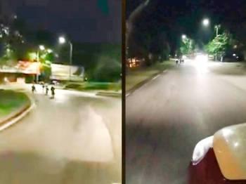 Aksi sekumpulan remaja menunggang basikal lajak secara melulu dan berbahaya tular di laman sosial. -Sumber Facebook Vincent Loke