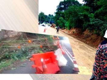 Jalan Seputih-Batu Hampar Seksyen 32 melibatkan laluan Pekan Parit ke Pekan Tanjung Belanja ditutup berikutan cerun runtuh yang berlaku awal pagi tadi. - Foto Jabatan Bomba dan Penyelamat Perak