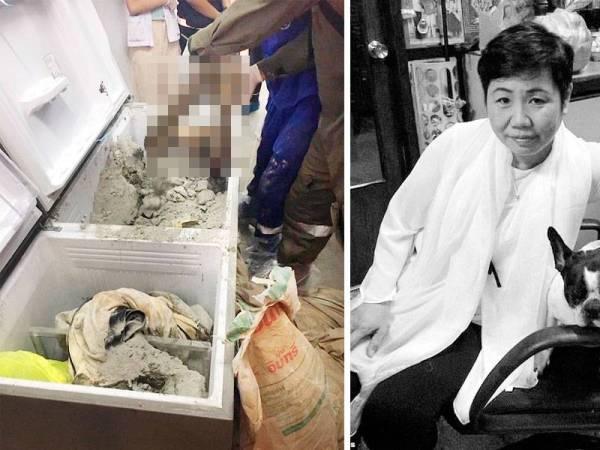 Mayat mangsa disimen dengan konkrit lalu disumbat ke dalam peti sejuk.  kanan: Wannee Jiracharoenying sering menderma sejumlah besar wang kepada kuil dan hospital. - Foto Viral Press