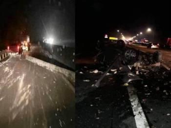 Lima kereta dilaporkan terbabit dalam kemalangan melanggar tiang konkrit yang jatuh dari sebuah treler di lebuh raya malam tadi.