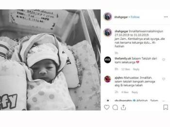 Paparan Instagram Shah berkongsi berita pemergian bayinya.