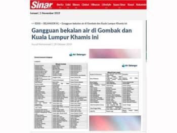 Sebelum ini Sinar Harian melaporkan sebanyak 120 kawasan di Gombak dan 57 kawasan di Kuala Lumpur terjejas gangguan bekalan air sementara.