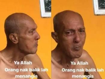 Paparan video yang menunjukkan seorang atuk menangis apabila cucunya ingin pulang ke Shah Alam