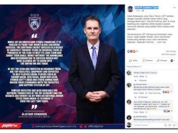 Edwards terkilan dengan kenyataan sebuah akhbar tempatan dan telah mengeluarkan kenyataan di laman rasmi JDT di Facebook.