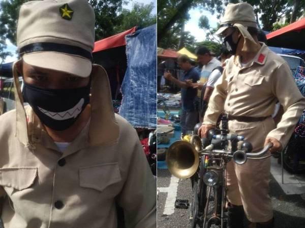 Gambar yang memaparkan seorang individu yang memakai pakaian seragam askar komunis di pasar karat di Road Walk di sini kelmarin menerima kecaman hebat daripada netizen.