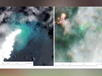 Gambar kiri menunjukkan gas yang dibebaskan selepas letusan gempa bawah laut manakala gambar kanan memaparkan pembentukan pulau baharu (titik hijau besar) tersebut.