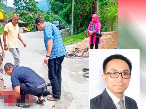 Mangsa maut di tempat kejadian selepas basikal ditungganginya hilang kawalan lalu terjatuh di bahagian kiri tayar belakang sebelum digilis lori terbabit. Gambar kecil: Wan Mohd Nur Muzaaliff