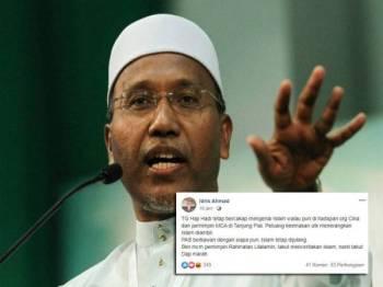 Idris Ahmad. Gambar kecil: Satu hantaran di Facebook.