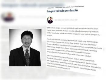 Artikel terakhir yang ditulis Allahyarham Wan Haron Wan Hassan di ruangan cetusan di Sinar Harian Julai lalu.