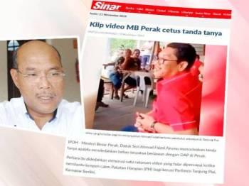 Laporan Sinar Harian 8 November lalu. Gambar kecil: Mohd Khusairi Abdul Talib
