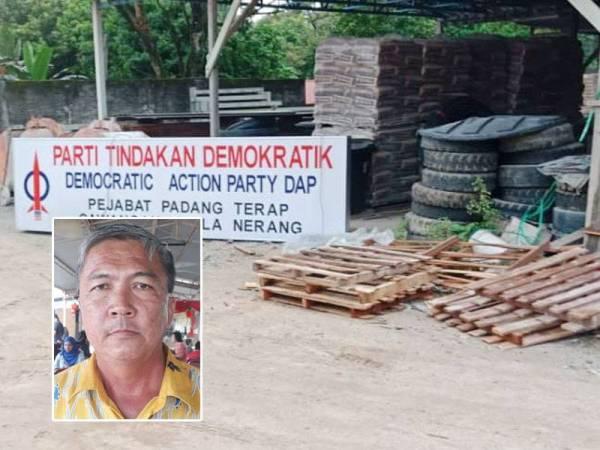 Papan tanda DAP Cawangan Kuala Nerang di kedai milik Keen Tong telah diturunkan oleh beliau semalam. Gambar kecil: Keen Tong