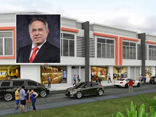 Lakaran kedai pejabat dua tingkat yang akan merancakkan lagi ekonomi di Serdang. Gambar kecil: Tunku Fauzi Tunku Abdul Malek