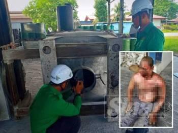 Pegawai JKKP Perak menjalankan siasatan pada mesin pencanai yang digunakan mangsa ketika kejadian. (Penyelia kilang melecur separuh badan selepas disambar api.)