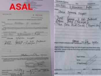 Notis asal dikeluarkan JPJ dan notis yang telah diubah suai.