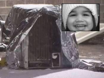 Pendingin hawa yang jatuh dari tingkat lapan dan menghempap Crystal Mirogho dua tahun. Gambar kecil: Crystal Mirogho