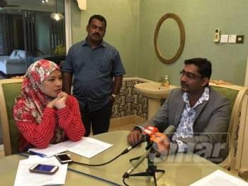 Pengerusi Pertubuhan Keselamatan Dalam Negeri Warga Asing, Datuk Seri P Thiagaraja ketika mengadakan sidang akhbar bagi membantah pelaksanaan semula Sistem Pengambilan Pekerja Asing (SPPA) di sini hari ini.