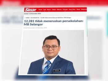 Menteri Besar Selangor, Amirudin Shari sebelum ini dilapor berkata, seramai 12,281 pelajar sekolah menengah dan rendah di Selangor didapati tidak meneruskan persekolahan mereka.