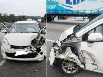 Keadaan kereta selepas terbabit kemalangan yang dikongsi Anisa Nur dalam akaun Facebook miliknya hari ini.