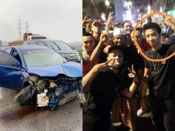 Keadaan kereta Mitsubishi Lancer yang dinaiki tiga sekawan hingga mengorbankan Haiqal dalam kemalangan di Kilometer 19.1 Lebuhraya LATAR semalam.