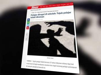 Laporan Sinar Harian berkaitan kes rogol membabitkan 7 remaja semalam.