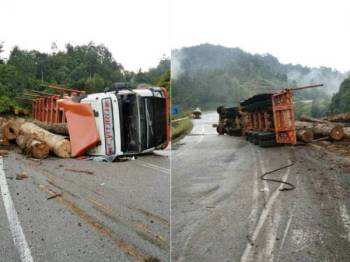Lori muatan balak yang terbabas sebelum terbalik di KM 60, Jalan Aring-Sungai Jawi kelmarin. - FOTO: IHSAN IPD HULU TERENGGANU