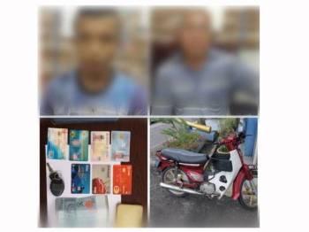 Suspek dan bapanya ditahan dalam serbuan di Projek Perumahan Rakyat Termiskin (PPRT) Kampung Paya Berenjut di sini semalam. - Foto PDRM