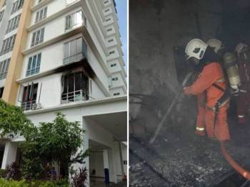 Sebuah bilik tidur musnah dalam kebakaran di kediaman awam Jalan Ang Seng semalam. Gambar kecil: Anggota bomba menjalankan kerja-kerja pemadaman di lokasi kejadian.