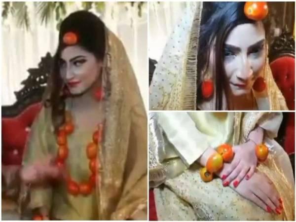 Seorang pengantin perempuan yang memilih untuk menggunakan tomato sebagai aksesori di hari perkahwinannya digelar 'wanita terkaya' di Pakistan.