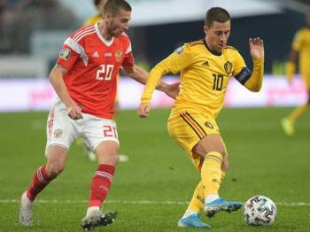 Aksi Hazard ketika mewakili Belgium menentang Rusia pada perlawanan Kelayakan Euro 2020 di Gazprom Arena Saint Petersburg 16 November lalu.