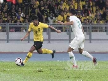 Pengendali sementara Indonesia, Yeyen Tumena mengakui bakat luar biasa yang dimiliki pemain sayap negara, Muhammad Safawi Rasid. - FOTO ZAHID IZZANI
