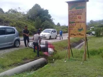 Keadaan motosikal milik Pos Malaysia ditunggang mangsa yang tercampak di bahu jalan di lokasi kejadian. - Gambar ihsan pembaca
