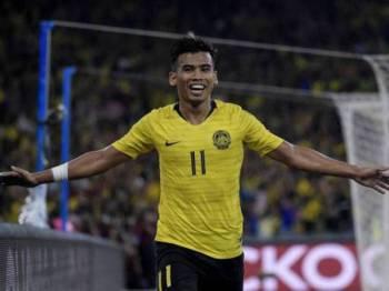 Safawi ketika meraikan jaringan gol kemenangan Malaysia ketika menewaskan Indonesia 2-0 pada perlawanan kelayakan Piala Dunia 2022/ Piala Asia 2023 di antara Malaysia menentang Indonesia di Stadium Nasional Bukit Jalil Selasa lalu. - Foto: Bernama