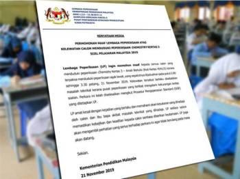 Permohonan maaf Lembaga Peperiksaan di atas kelewatan calon menduduki peperiksaan Chemistry Kertas 3 hari ini.